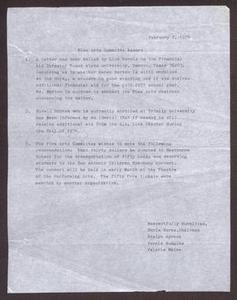 Status Report: Arts Committee - February 1976 San Antonio Chapter of Links Records Links San Antonio Papers
