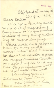 Letter from Elvira W. Lee to W. E. B. Du Bois