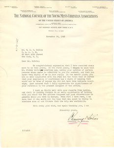 Letter from Channing H. Tobias to W. E. B. Du Bois