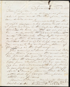 Letter from Samuel Joseph May, Syracuse, [N.Y.], to William Lloyd Garrison, Feb[ruary] 11. 1851
