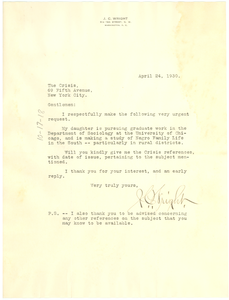 Letter from James C. Wright to the Crisis