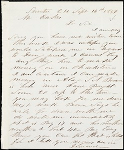A. J. McElveen, Sumter Court House, S.C., autograph letter signed to Ziba B. Oakes, 16 September 1856