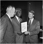 Governor Jimmy Carter presenting Dr. Benjamin E. Mays with the Outstanding Older Georgian Award, Morehouse College, Atlanta, Georgia, August 6, 1971.