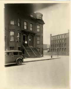 Two men stand on the front steps of 240 West Canton Street, Boston, Mass., June 8, 1933