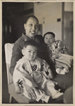 Josephine Baker and the two orphans, Akio and Janot, that she adopted in Japan, 1954
