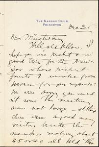 Baldwin, James Mark, 1861-1934 autograph letter signed to Hugo Münsterberg, Princeton, N.J., 31 December 1896?