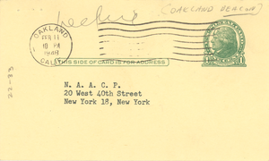 Postcard from Beacon to NAACP