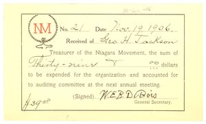 Niagara Movement Receipt No. 21