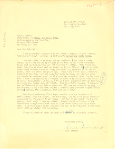 Letter from Anne Simmons to W. E. B. Du Bois