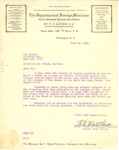 Letter from A . M. E. Zion Church to W. E. B. Du Bois