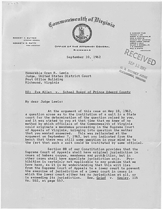 Letter from Robert Y. Button, Attorney General filed in Dorothy E. Davis, et al. versus County School Board of Prince Edward County, Virginia, Civil Action No. 1333.