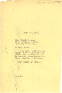 Letter from W. E. B. Du Bois to Minnie Lomax