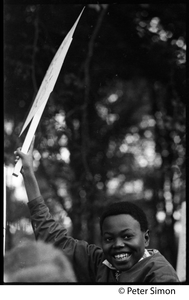 Young African American boy at the George Wallace rally on Boston Common
