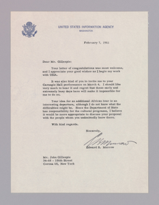 Letter to Dizzy Gillespie from Edward R. Murrow regarding an African tour