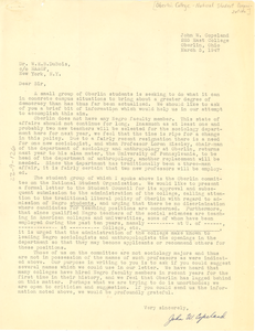 Letter from Oberlin College National Student Organization to W. E. B. Du Bois