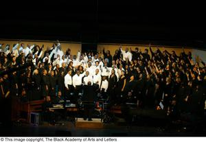 Choir and band on stage Black Music and the Civil Rights Movement Concert, featuring Chrisette Michele and Ledisi