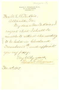 Letter from Marcus F. Wheatland to W. E. B. Du Bois