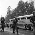 National Guard members protecting the bus for the Freedom Riders leaving Montgomery, Alabama, for Jackson, Mississippi.