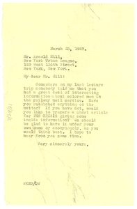 Letter from W. E. B. Du Bois to Arnold Hill
