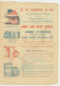 Army and Navy goods and camp utensils of every description, fire arms, swords, etc., about 1861