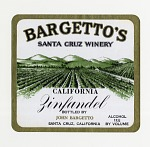 "Wine bottle label, ""Bargetto's Zinfandel,""1930s"