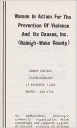 Box 11, Folder 9: Raleigh-Wake County and Wilmington, 1971-1974 and undated
