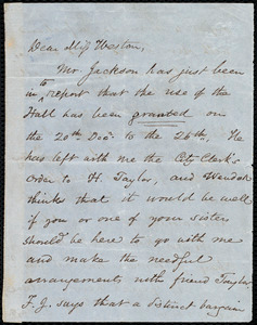 Letter from Samuel May, [Boston?, Mass.], to Miss Weston, Tuesday 2 p.m., [1848 Dec.?]