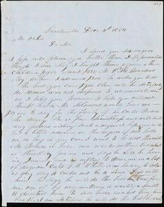 A. J. McElveen, Sumterville, S.C., autograph letter signed to Ziba B. Oakes, 11 December 1854
