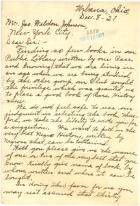 Letter from Hattie L. Mack to James Weldon Johnson