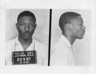 Mississippi State Sovereignty Commission photograph of Amos C. Brown following his arrest for his participation in a sit-in at Livingston Park in Jackson, Mississippi, 1961 June 10