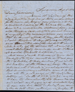 Letter from Samuel Joseph May, Syracuse, [N.Y.], to William Lloyd Garrison, Aug[ust] 5. 1852
