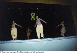 Male dancers during Lift Up Jamaica musical Ashe Caribbean Dance