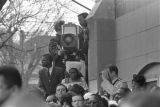 A television news camera at the northeast corner of Ebenezer Baptist Church during Martin Luther King, Jr.'s funeral.