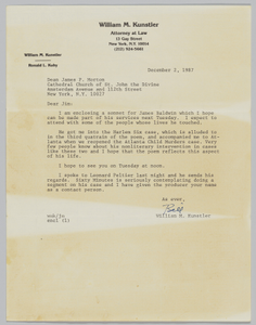 """""""Dean James P. Morton, Cathedral Church of St. John the Divine…"""" letter"""