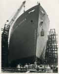 Bow-side view of Liberty ship SS George Washington Carver as it slides down the way, Richmond Shipyard No. 1
