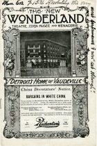 Program booklet for a vaudeville show at the New Wonderland Theatre, Eden Musee, and Menagerie during the week of July 15, 1901