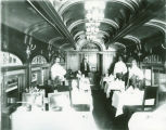 """Interior of the dining car """"Old Eli"""" on the Kansas City Flyer"""