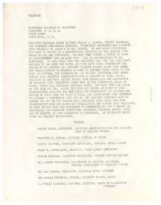 Thumbnail for Telegram from March on Washington Movement to President Franklin D. Roosevelt