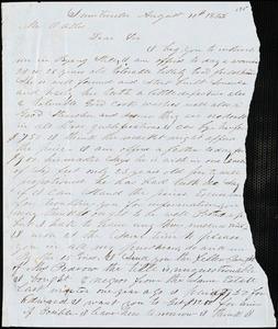 A. J. McElveen, Sumterville, S.C., autograph letter signed to Ziba B. Oakes, 10 August 1853
