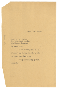 Letter from W. E. B. Du Bois to S. D. Rhone