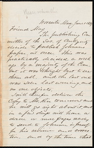 Letter from Joseph Avery Howland, Worcester, [Mass.], to Samuel May, June 1, 1887