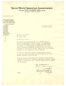 Letter from Young Men's Christian Association of the City of New York to W. E. B. Du Bois