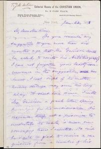 Letter from Oliver Johnson, New York, [New York], to James Miller M'Kim, 1873 Jan[uary] 22