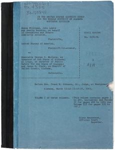 Testimony from Hosea Williams, John Lewis, and Amelia Boynton et al. v. Honorable George C. Wallace, Governor of Alabama et al.