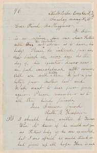 Ruth Brown Thompson autograph letter signed to Thomas Wentworth Higginson, North Elba, Essex Co., N.Y., 17 November [1859]
