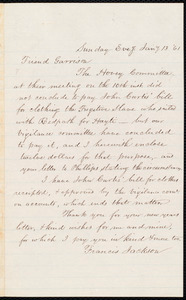 Letter from Francis Jackson, [Place of publication not identified], to William Lloyd Garrison, Jan[uar]y 13, [18]61
