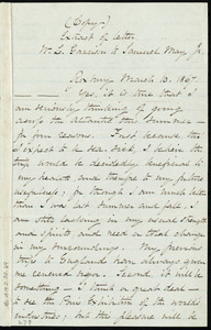 Extract of letter from William Lloyd Garrison, Roxbury, [Mass.], to Samuel May, March 10, 1867