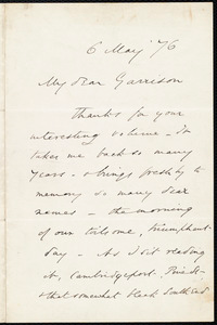 Letter from Wendell Phillips, to William Lloyd Garrison, 6 May [18]76