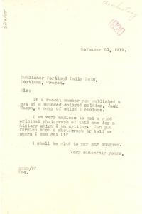 Letter from W. E. B. Du Bois to Publisher, Portland Daily News