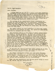 Circular letter from A. F. Shaw to the Fisk teachers